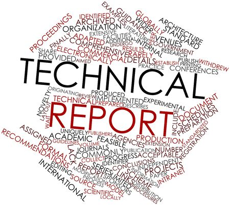 Abstract word cloud for Technical report with related tags and terms Stock Photo