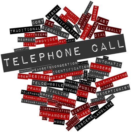 Abstract word cloud for Telephone call with related tags and terms Stock Photo - 17427528
