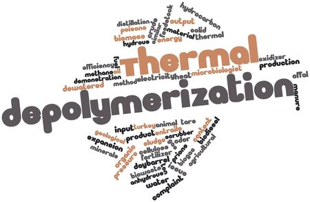 entrails: Abstract word cloud for Thermal depolymerization with related tags and terms Stock Photo