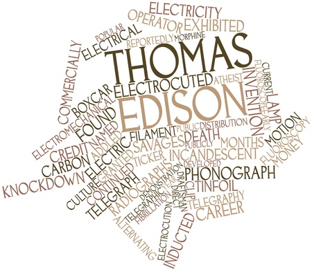 metaphysics: Abstract word cloud for Thomas Edison with related tags and terms