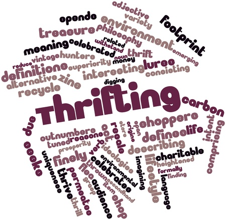 Abstract word cloud for Thrifting with related tags and terms Stock Photo - 17427414