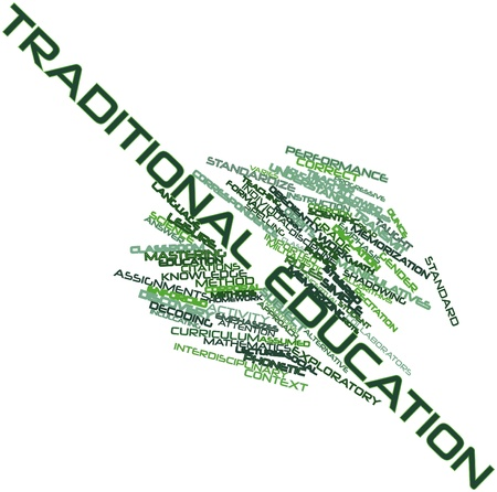 recitation: Abstract word cloud for Traditional education with related tags and terms
