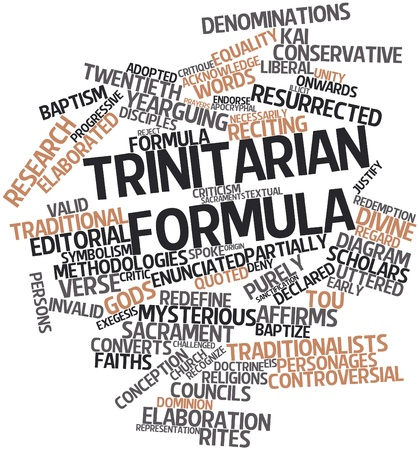 Abstract word cloud for Trinitarian formula with related tags and terms Stock Photo - 17409489