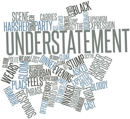 responds: Abstract word cloud for Understatement with related tags and terms Stock Photo
