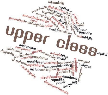 middle class: Nube palabra abstracta para la clase superior con etiquetas y términos relacionados Foto de archivo