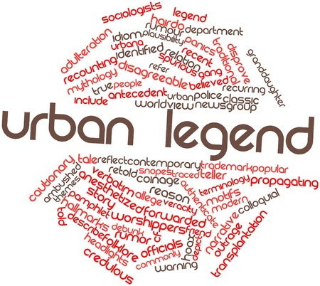spurious: Abstract word cloud for Urban legend with related tags and terms Stock Photo