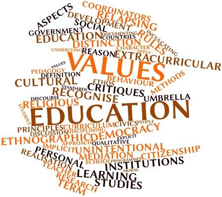 valores morales: Nube palabra abstracta para educación en valores con las etiquetas y términos relacionados Foto de archivo