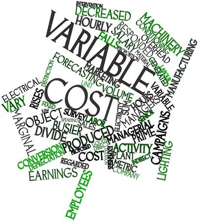 Abstrakte Wortwolke für variable Kosten mit verwandte Tags und Begriffe