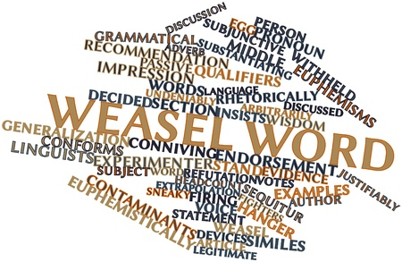 Abstract word cloud for Weasel word with related tags and terms