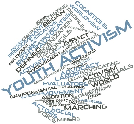compel: Abstract word cloud for Youth activism with related tags and terms Stock Photo