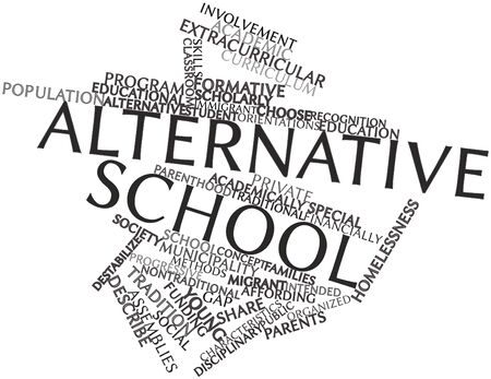 distinguishing: Abstract word cloud for Alternative school with related tags and terms