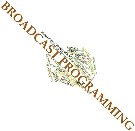 syndicated: Abstract word cloud for Broadcast programming with related tags and terms Stock Photo