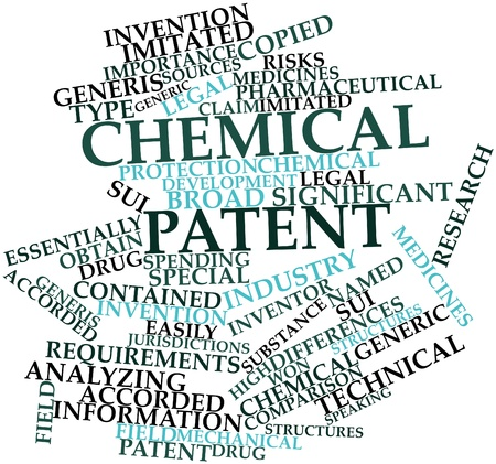 patent: Abstract word cloud for Chemical patent with related tags and terms Stock Photo