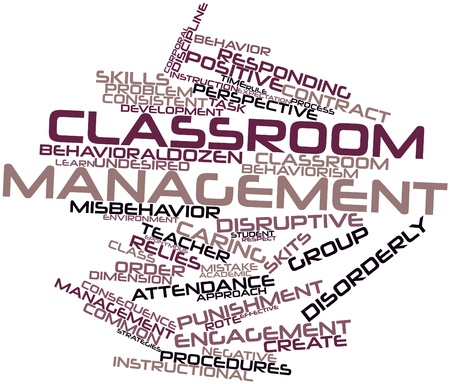 disruptive: Abstract word cloud for Classroom management with related tags and terms Stock Photo