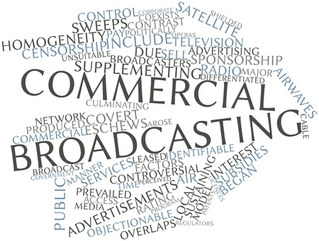 Abstract word cloud for Commercial broadcasting with related tags and terms