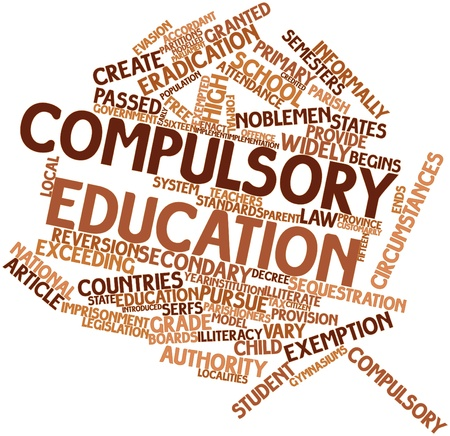 commanded: Abstract word cloud for Compulsory education with related tags and terms Stock Photo