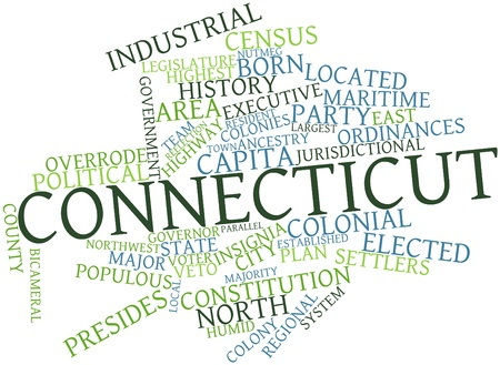 Abstract word cloud for Connecticut with related tags and terms