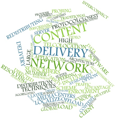 deployed: Abstract word cloud for Content delivery network with related tags and terms Stock Photo