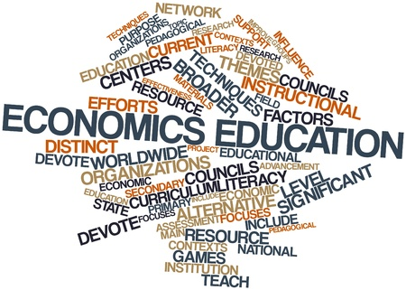 pedagogical: Abstract word cloud for Economics education with related tags and terms