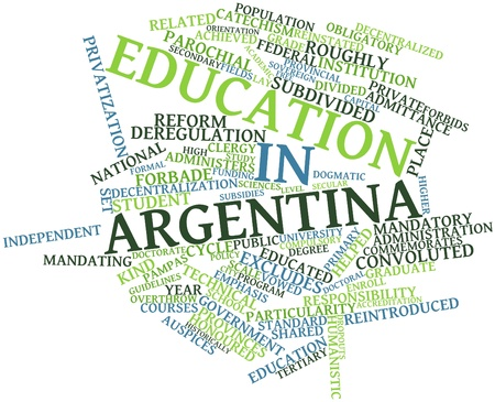 Abstract word cloud for Education in Argentina with related tags and terms Stock Photo