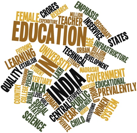 Abstract word cloud for Education in India with related tags and terms