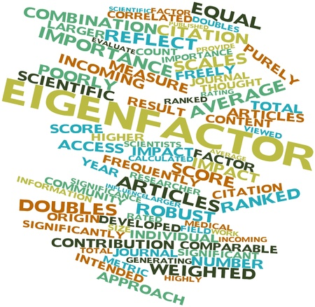 comparable: Abstract word cloud for Eigenfactor with related tags and terms