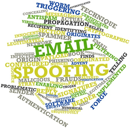 Abstract word cloud for Email spoofing with related tags and terms