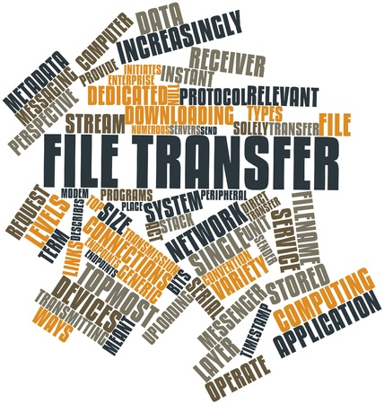 file transfer: Abstract word cloud for File transfer with related tags and terms Stock Photo
