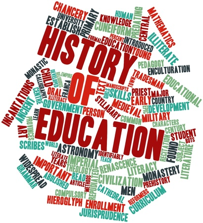 cuneiform: Abstract word cloud for History of education with related tags and terms Stock Photo