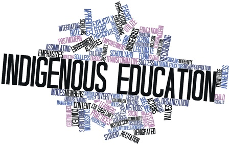 Abstract word cloud for Indigenous education with related tags and terms