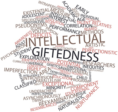 conceptions: Abstract word cloud for Intellectual giftedness with related tags and terms