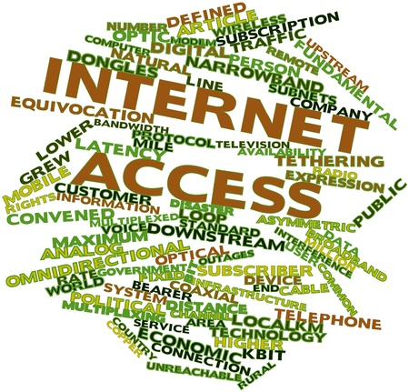 latency: Abstract word cloud for Internet access with related tags and terms Stock Photo