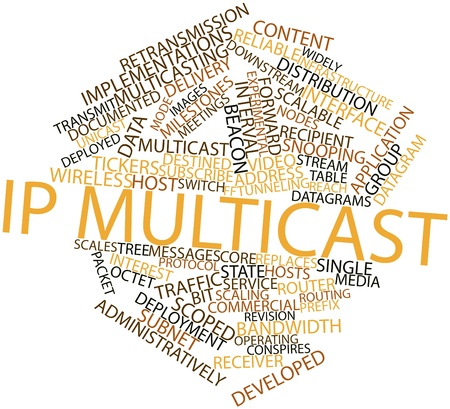 destined: Abstract word cloud for IP multicast with related tags and terms Stock Photo