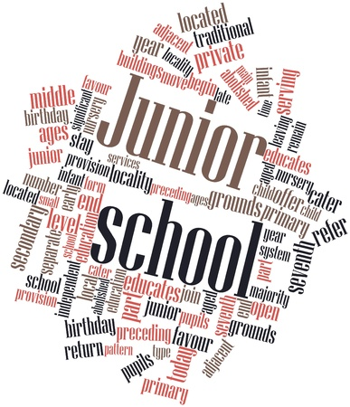 junior: Abstract word cloud for Junior school with related tags and terms Stock Photo