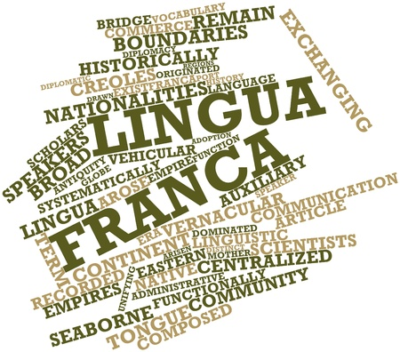 Abstract word cloud for Lingua franca with related tags and terms Stock Photo