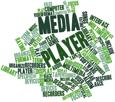 Abstract word cloud for Media player with related tags and terms