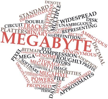synoniem: Abstracte woord wolk voor Megabyte met gerelateerde tags en termen