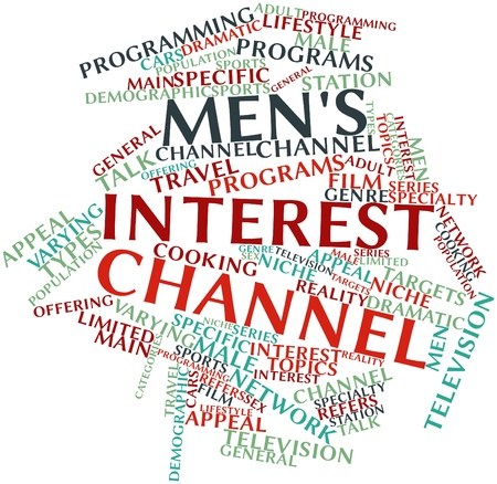 Abstract word cloud for Men's interest channel with related tags and terms