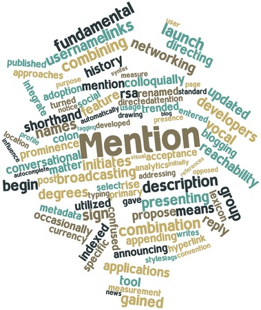 Abstract word cloud for Mention with related tags and terms