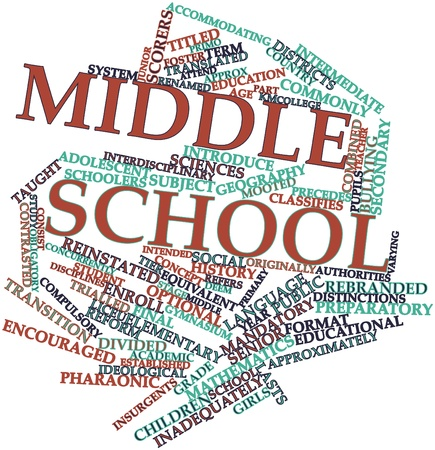 Abstract word cloud for Middle school with related tags and terms Banco de Imagens