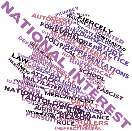 jurists: Abstract word cloud for National interest with related tags and terms