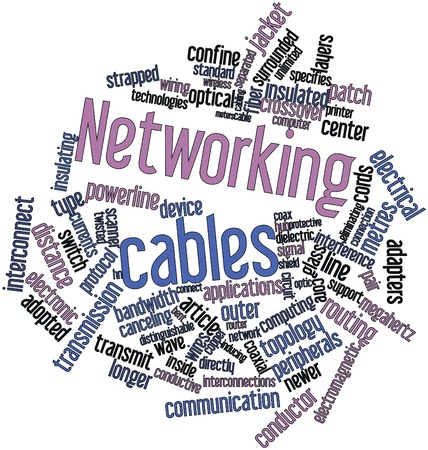 Abstract word cloud for Networking cables with related tags and terms
