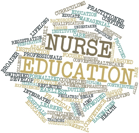 integrates: Abstract word cloud for Nurse education with related tags and terms Stock Photo