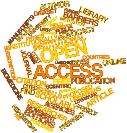 editions: Abstract word cloud for Open access with related tags and terms Stock Photo