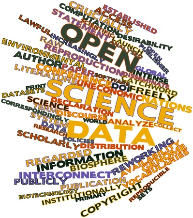 cited: Abstract word cloud for Open science data with related tags and terms