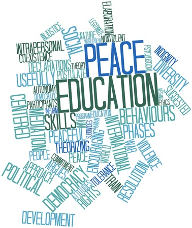 conflict theory: Abstract word cloud for Peace education with related tags and terms