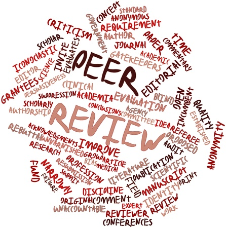 reviews: Abstract word cloud for Peer review with related tags and terms