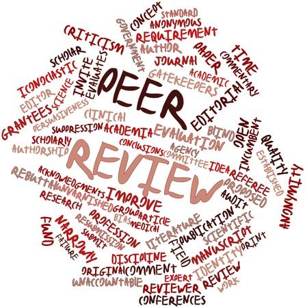 Abstrakt Wort-Wolke für Peer Review mit verwandte Tags und Begriffe