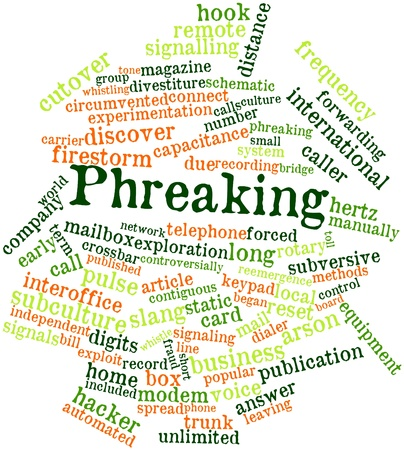 contiguous: Abstract word cloud for Phreaking with related tags and terms