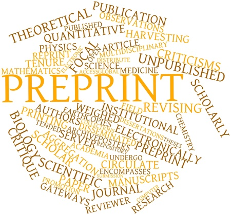 critique: Abstract word cloud for Preprint with related tags and terms Stock Photo